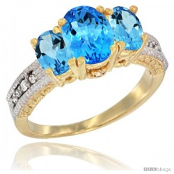10K Yellow Gold Ladies Oval Natural Swiss Blue Topaz 3-Stone Ring Diamond Accent