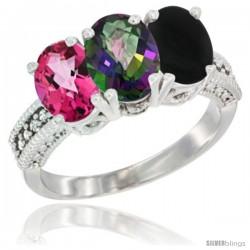 10K White Gold Natural Pink Topaz, Mystic Topaz & Black Onyx Ring 3-Stone Oval 7x5 mm Diamond Accent