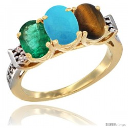 10K Yellow Gold Natural Emerald, Turquoise & Tiger Eye Ring 3-Stone Oval 7x5 mm Diamond Accent