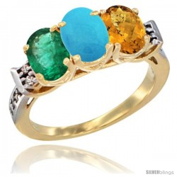 10K Yellow Gold Natural Emerald, Turquoise & Whisky Quartz Ring 3-Stone Oval 7x5 mm Diamond Accent