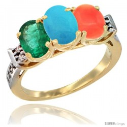 10K Yellow Gold Natural Emerald, Turquoise & Coral Ring 3-Stone Oval 7x5 mm Diamond Accent