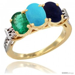 10K Yellow Gold Natural Emerald, Turquoise & Lapis Ring 3-Stone Oval 7x5 mm Diamond Accent