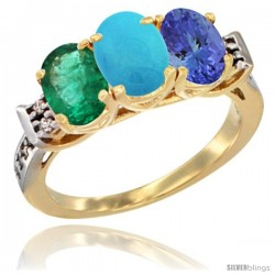 10K Yellow Gold Natural Emerald, Turquoise & Tanzanite Ring 3-Stone Oval 7x5 mm Diamond Accent