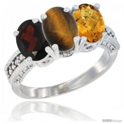 10K White Gold Natural Garnet, Tiger Eye & Whisky Quartz Ring 3-Stone Oval 7x5 mm Diamond Accent