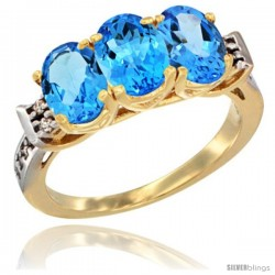 10K Yellow Gold Natural Swiss Blue Topaz Ring 3-Stone Oval 7x5 mm Diamond Accent
