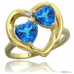 10k Yellow Gold 2-Stone Heart Ring 6mm Natural Swiss Blue & Swiss Blue