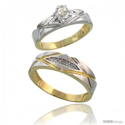 Gold Plated Sterling Silver 2-Piece Diamond Wedding Engagement Ring Set for Him & Her, 5mm & 6mm wide
