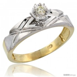 Gold Plated Sterling Silver Diamond Engagement Ring, 3/16 in wide