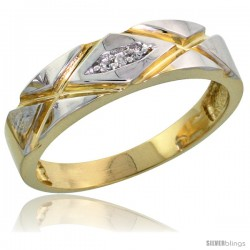 Gold Plated Sterling Silver Ladies Diamond Wedding Band, 3/16 in wide