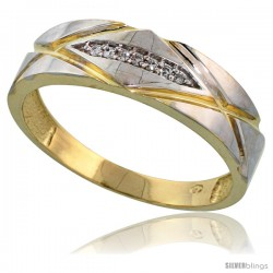 Gold Plated Sterling Silver Mens Diamond Wedding Band, 1/4 in wide