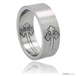 Surgical Steel Orthodox Cross Ring Cut-out 8mm Wedding Band