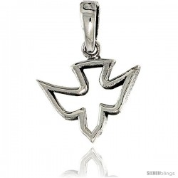 "Sterling Silver Dove Pendant, 1/2"" in tall -Style Pa1967"