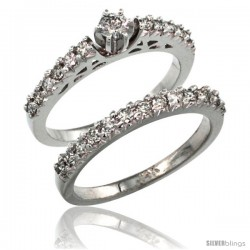 14k White Gold 2-Piece Diamond Engagement Ring Band Set w/ 0.72 Carat Brilliant Cut Diamonds, 3/32 in. (2.5mm) wide