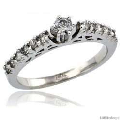 14k White Gold Diamond Engagement Ring w/ 0.43 Carat Brilliant Cut Diamonds, 3/32 in. (2.5mm) wide