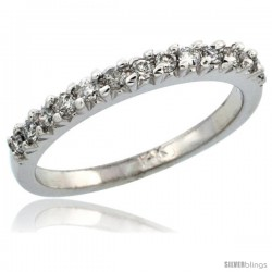 14k White Gold Ladies' Diamond Ring Band w/ 0.29 Carat Brilliant Cut Diamonds, 3/32 in. (2.5mm) wide