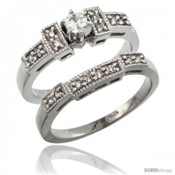 14k White Gold 2-Piece Diamond Engagement Ring Band Set w/ 0.37 Carat Brilliant Cut Diamonds, 1/8 in. (3mm) wide