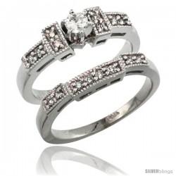 14k White Gold 2-Piece Diamond Engagement Ring Band Set w/ 0.37 Carat Brilliant Cut Diamonds, 1/8 in. (3mm) wide