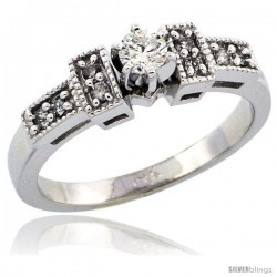 14k White Gold Diamond Engagement Ring w/ 0.27 Carat Brilliant Cut Diamonds, 1/8 in. (3mm) wide