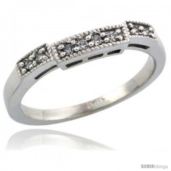 14k White Gold Ladies' Diamond Ring Band w/ 0.10 Carat Brilliant Cut Diamonds, 1/8 in. (3mm) wide