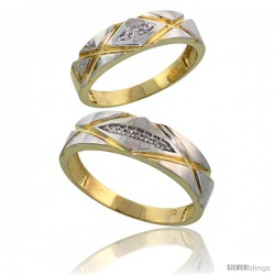 Gold Plated Sterling Silver Diamond 2 Piece Wedding Ring Set His 6mm & Hers 5mm