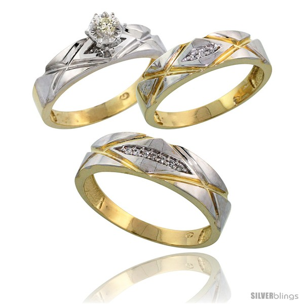 Gold Plated Sterling Silver Diamond Trio Wedding Ring Set His 6mm Amp Hers 5mm