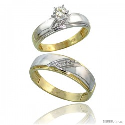 Gold Plated Sterling Silver 2-Piece Diamond Wedding Engagement Ring Set for Him & Her, 5.5mm & 7mm wide
