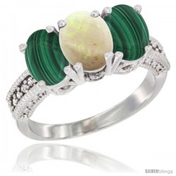 14K White Gold Natural Opal Ring with Malachite 3-Stone 7x5 mm Oval Diamond Accent