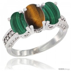14K White Gold Natural Tiger Eye Ring with Malachite 3-Stone 7x5 mm Oval Diamond Accent