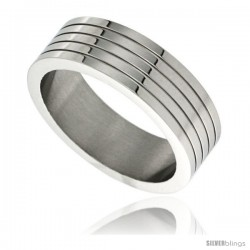 Surgical Steel 7mm Wedding Band Ring 4 Grooves Polished finish