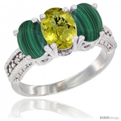 14K White Gold Natural Lemon Quartz Ring with Malachite 3-Stone 7x5 mm Oval Diamond Accent