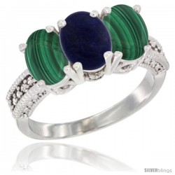 14K White Gold Natural Lapis Ring with Malachite 3-Stone 7x5 mm Oval Diamond Accent