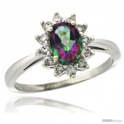14k White Gold Diamond Halo Mystic Topaz Ring 0.85 ct Oval Stone 7x5 mm, 1/2 in wide
