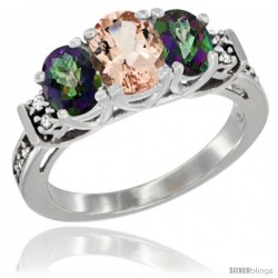 14K White Gold Natural Morganite & Mystic Topaz Ring 3-Stone Oval with Diamond Accent