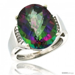 14k White Gold Diamond Mystic Topaz Ring 9.7 ct Large Oval Stone 16x12 mm, 5/8 in wide