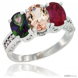 14K White Gold Natural Mystic Topaz, Morganite & Ruby Ring 3-Stone 7x5 mm Oval Diamond Accent