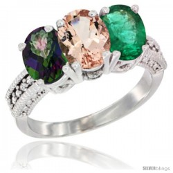 14K White Gold Natural Mystic Topaz, Morganite & Emerald Ring 3-Stone 7x5 mm Oval Diamond Accent
