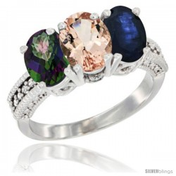 14K White Gold Natural Mystic Topaz, Morganite & Blue Sapphire Ring 3-Stone 7x5 mm Oval Diamond Accent