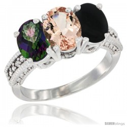 14K White Gold Natural Mystic Topaz, Morganite & Black Onyx Ring 3-Stone 7x5 mm Oval Diamond Accent