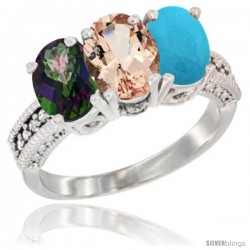 14K White Gold Natural Mystic Topaz, Morganite & Turquoise Ring 3-Stone 7x5 mm Oval Diamond Accent
