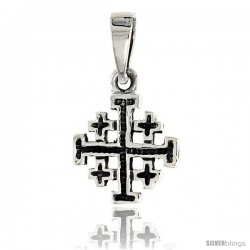 Sterling Silver Jerusalem Cross Pendant, 1/2 in tall