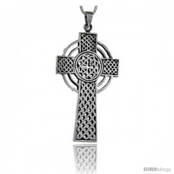 Sterling Silver Celtic Cross Pendant, 1 7/8 in long