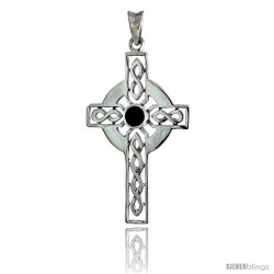 Sterling Silver Celtic Cross w/ Jet Stone Pendant, 1 3/4 in