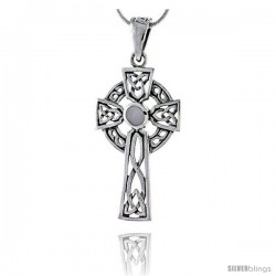Sterling Silver Celtic Cross w/ Mother of Pearl Pendant, 1 3/4 in -Style Pa2002mop