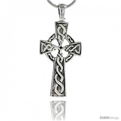 Sterling Silver Celtic Cross Pendant, 1 1/2 in