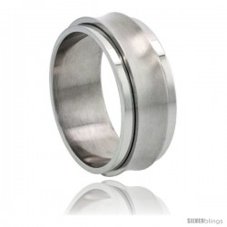 Surgical Steel Concaved Spinner Ring 9mm Wedding Band Matte Center