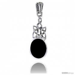 Sterling Silver Celtic Knot Pendant w/ Jet Stone Pendant, 1 in