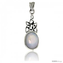 Sterling Silver Celtic Knot Pendant w/ Mother of Pearl Pendant, 1 in