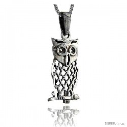 Sterling Silver Owl Pendant, 1 3/8 in tall
