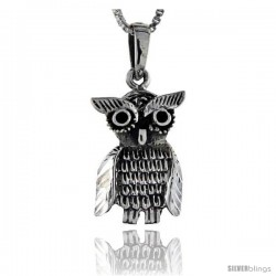 Sterling Silver Owl Pendant, 1 1/8 in tall