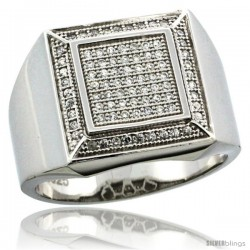 Sterling Silver Men's Large Square Ring 85 Micro Pave CZ Stones, 19/32 in (15 mm) wide
